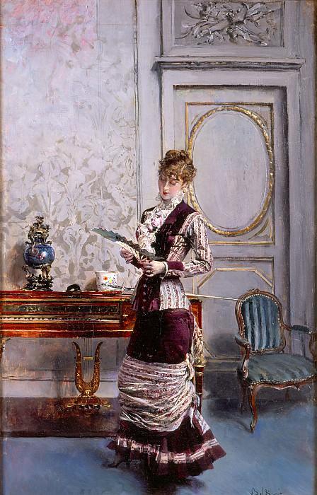 Berthe che Guarda un Ventaglio 1878. Giovanni Boldini