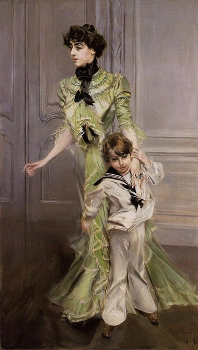 Portrait of Madame Georges Hugo (nee Pauleen Menard Dozian) and Her Son Jean. Giovanni Boldini