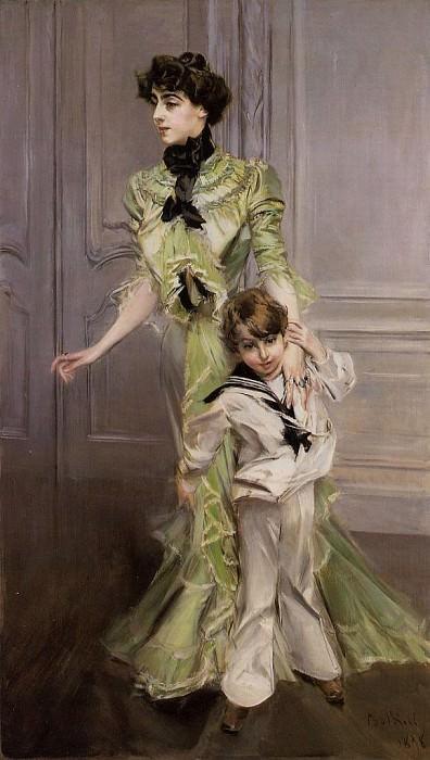 Портрет мадам Жорж Гюго (урожденной Полин Менар Дозиан) и ее сына Жана. Джованни Больдини