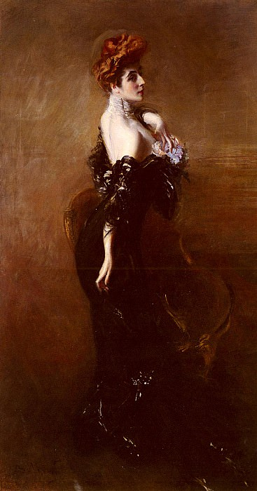 Portrait Of madame Pages In Evening Dress. Giovanni Boldini