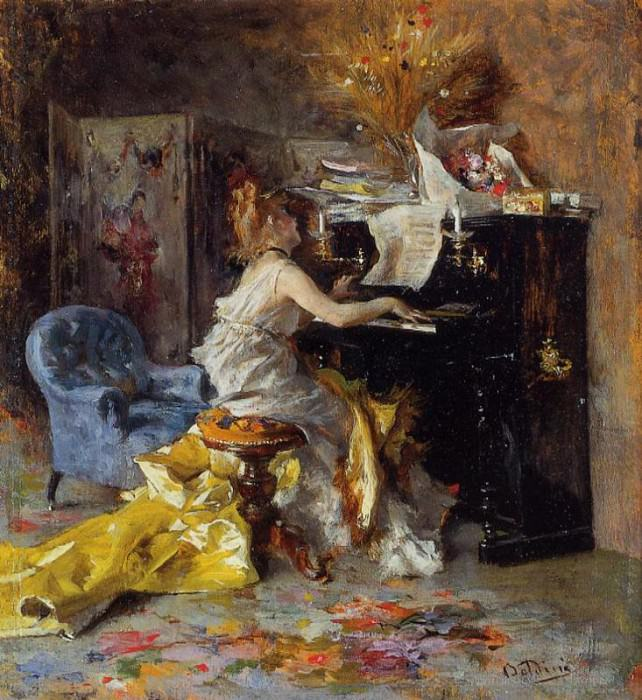 Boldini Giovanni Woman at a Piano. Giovanni Boldini