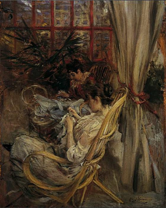 Две женщины, поглощенные шитьем. Джованни Больдини