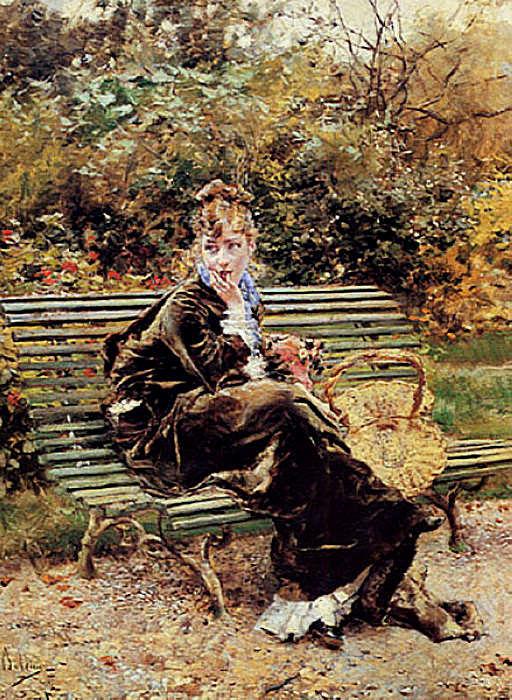 Sentada en el Jardin. Giovanni Boldini