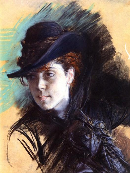 Girl In A Black Hat. Giovanni Boldini