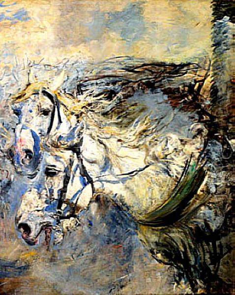 Two White Horses 1881–86. Giovanni Boldini