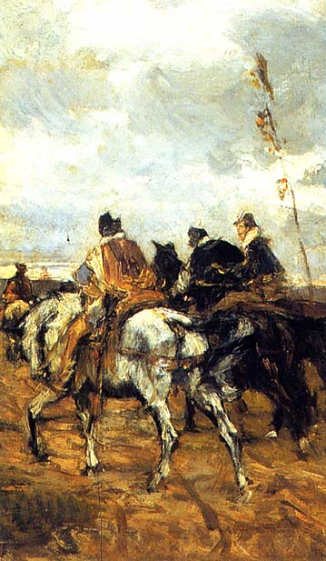 Horses and Knights. Giovanni Boldini