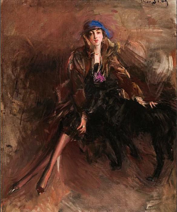 Signora con Levriero Nero. Giovanni Boldini