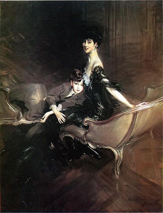 Boldini Giovanni Consuelo Duchess of Marlborough with Her Son Ivor Spencer Churchill. Giovanni Boldini