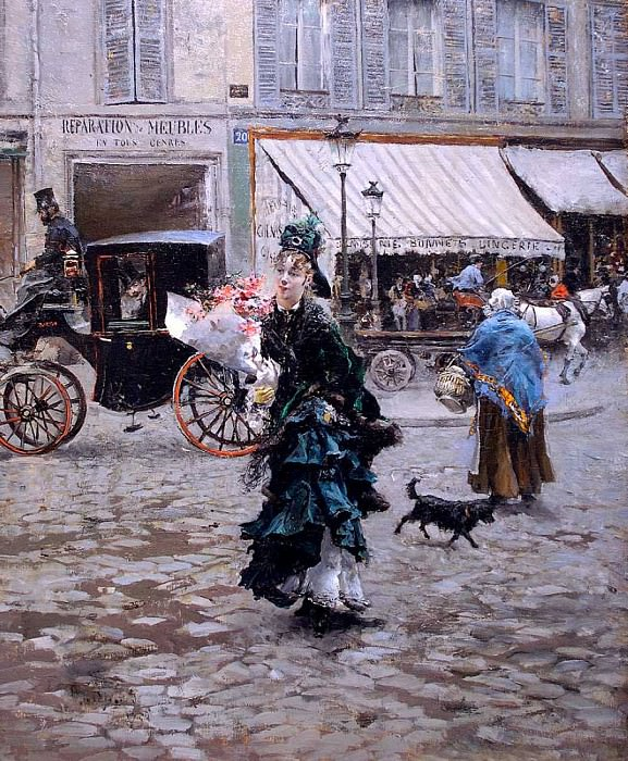 Crossing the Street 1875. Giovanni Boldini