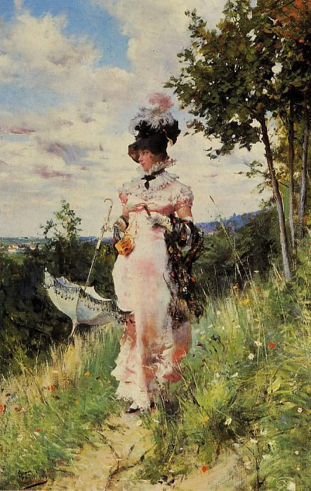 The Summer Stroll. Giovanni Boldini