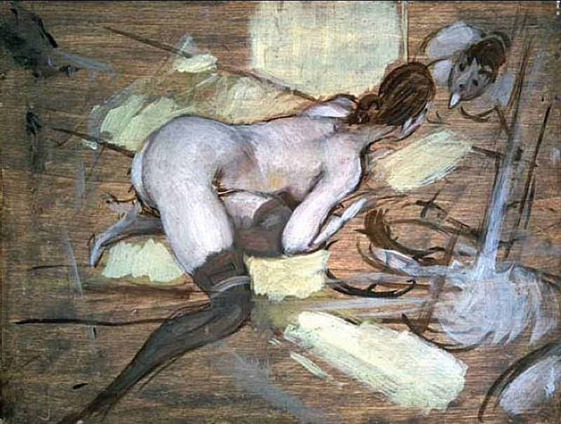 Nude Woman reclining on Yellow Cushions. Giovanni Boldini