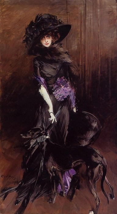 Portrait of the Marchesa Luisa Casati with a Greyhound. Giovanni Boldini