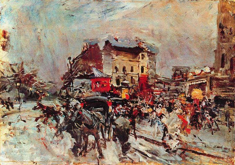 Exit of a Costumes Ball in Montmartre. Giovanni Boldini