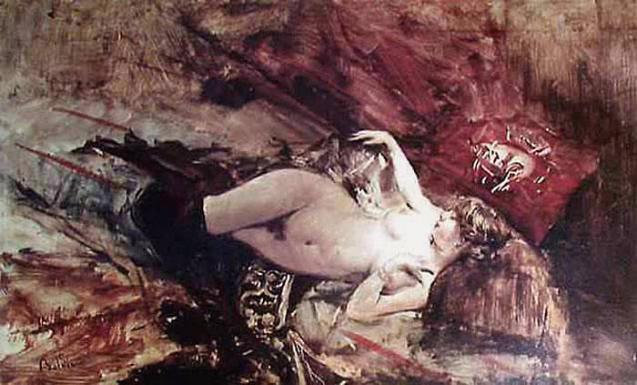 Naked Young Lady with Blanket. Giovanni Boldini