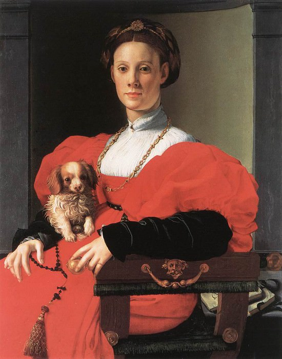 Portrait of a Lady with a Puppy. Agnolo Bronzino