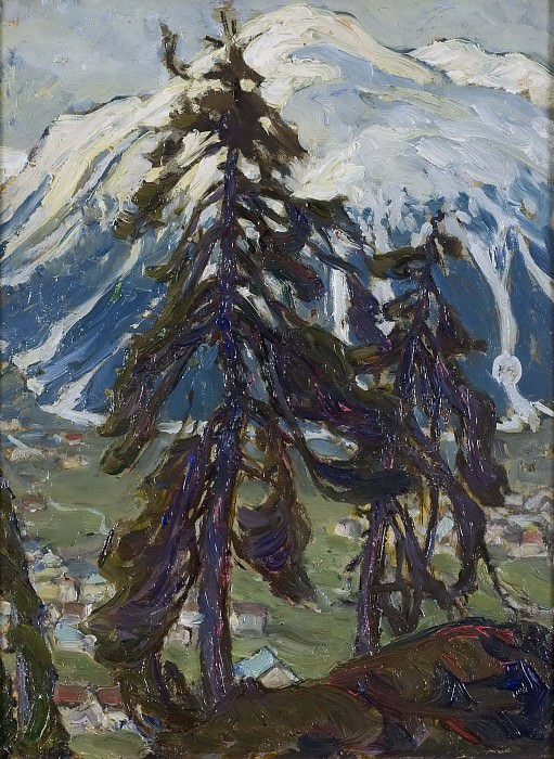 Fir Trees in front of the Mountains. Study from North Norway. Anna Katarina Boberg