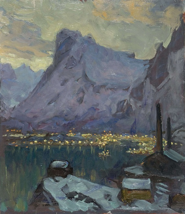 Svolvaer Harbour at the Height of the Fishing Season. Study from Lofoten. Anna Katarina Boberg