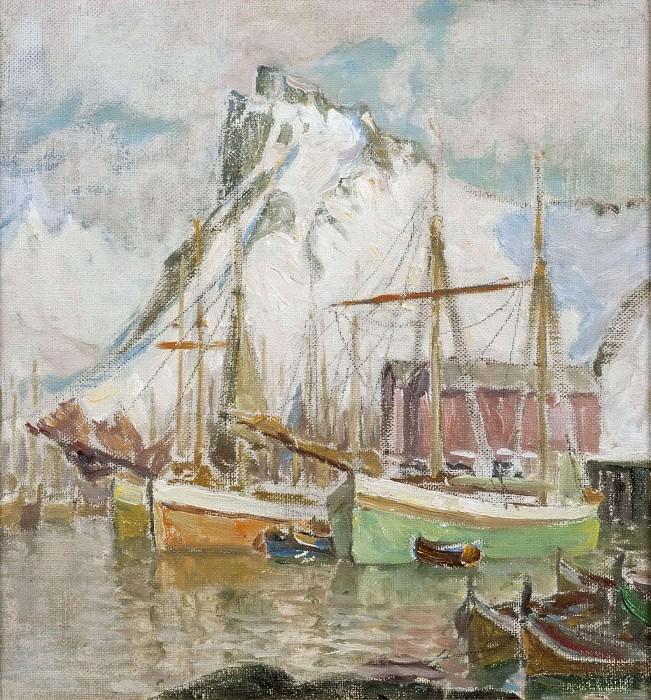 In the Harbour, Svolvaer. Study from Lofoten. Anna Katarina Boberg