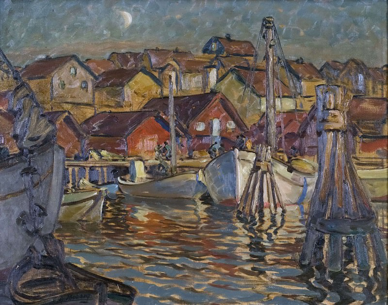 A Fishing Harbour. Study from North Norway. Anna Katarina Boberg