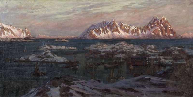 Fishing Harbour with Sunlit Mountains. Study from North Norway. Anna Katarina Boberg