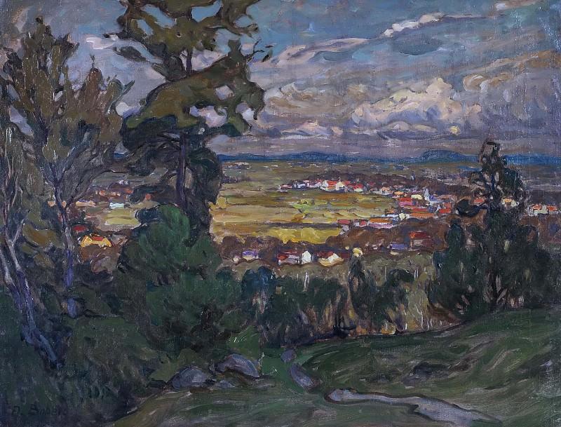 Пейзаж с деревней. Этюд из Северной Норвегии. Анна Боберг