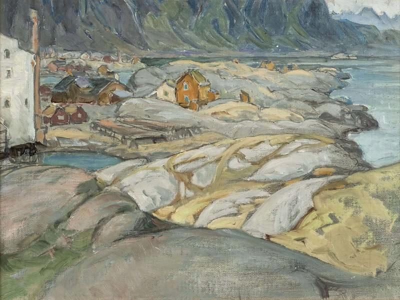Деревня у подножия горы. Этюд с Лофотенских островов. Анна Боберг