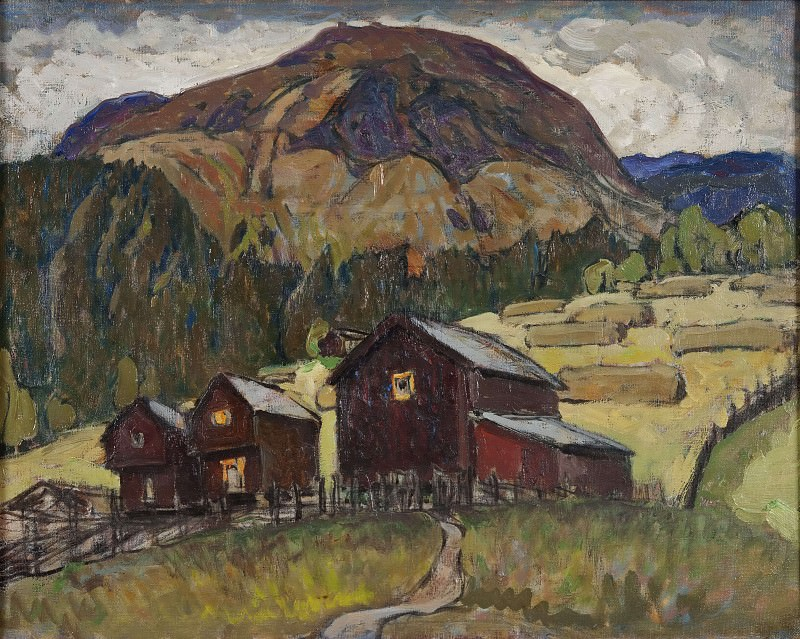 Summer Landscape with Shielings. Study from North Norway. Anna Katarina Boberg