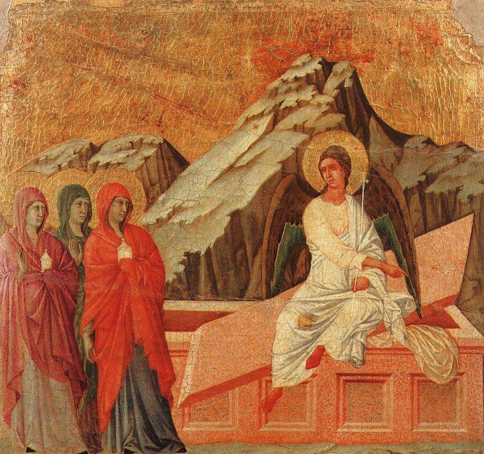 The Holy Women at the Sepulchre, 1308-11.. Duccio di Buoninsegna