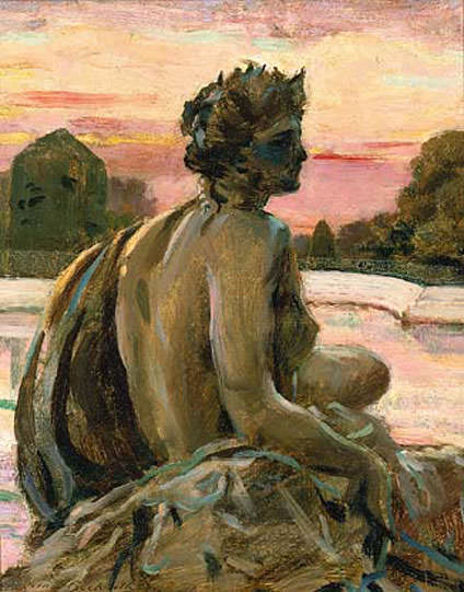One of the Figures at the Parterre d-Eau. James Carroll Beckwith