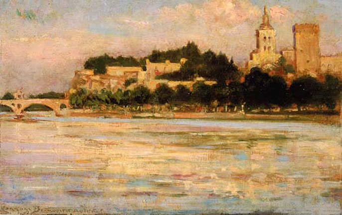 The Palace of the Popes and Pont d-Avignon. James Carroll Beckwith