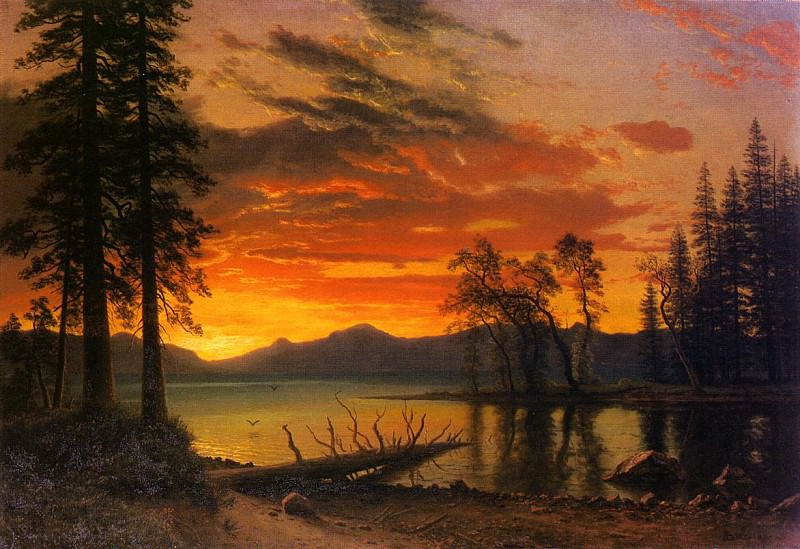Sunset over the River. Albert Bierstadt