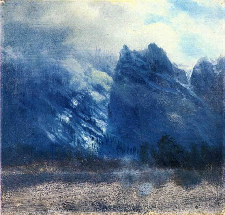 Yosemite Valley Twin Peaks. Albert Bierstadt