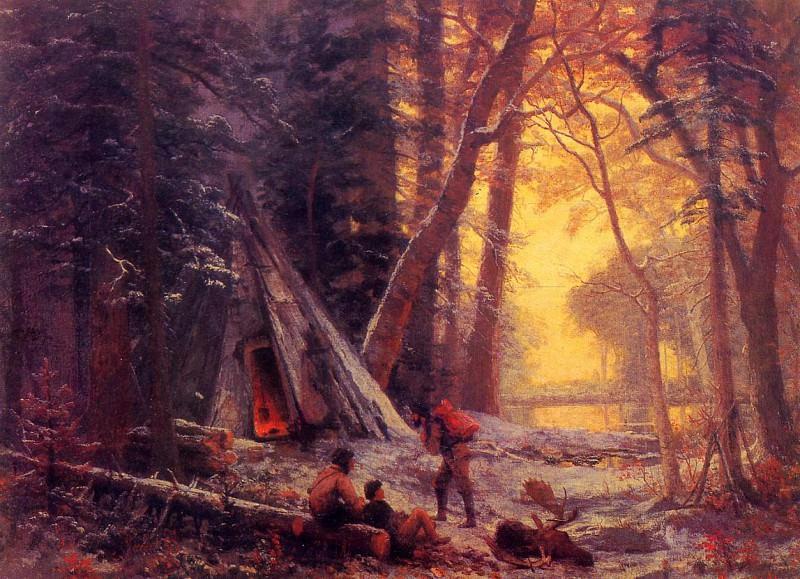 Стоянка охотников на американского лося. Альберт Бирштадт