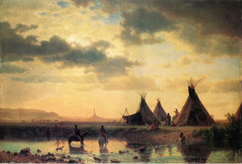 View of Chimney Rock Ogalillalh Sioux Village in Foreground. Albert Bierstadt