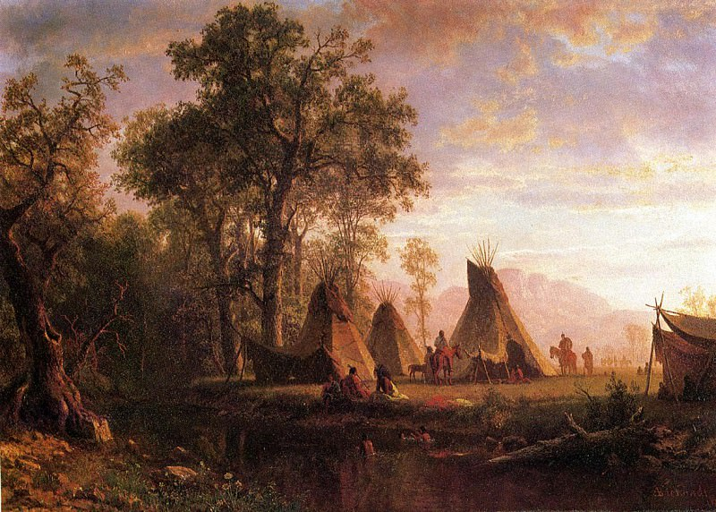 Indian Encampment Late Afternoon. Albert Bierstadt