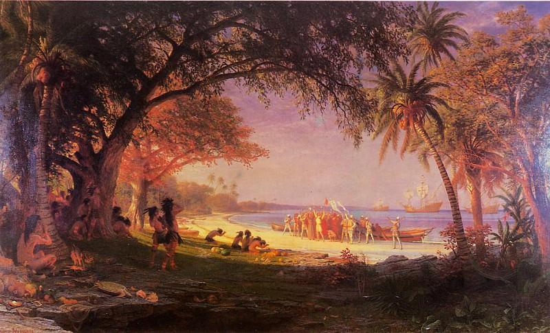 Высадка Колумба на берег. Альберт Бирштадт