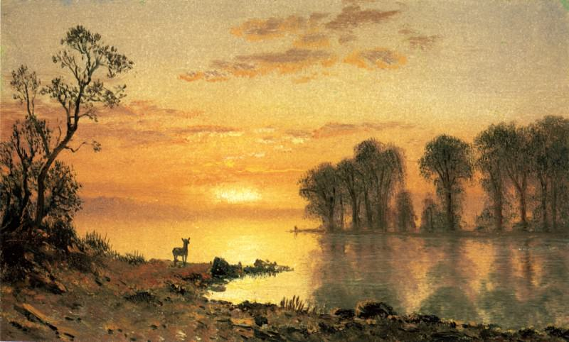 Sunset Deer and River. Albert Bierstadt