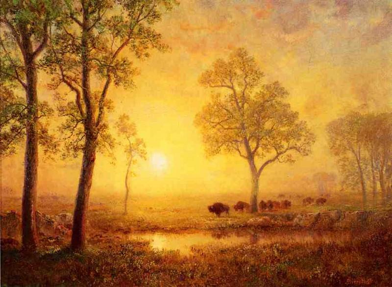 Закат в горной местности. Альберт Бирштадт