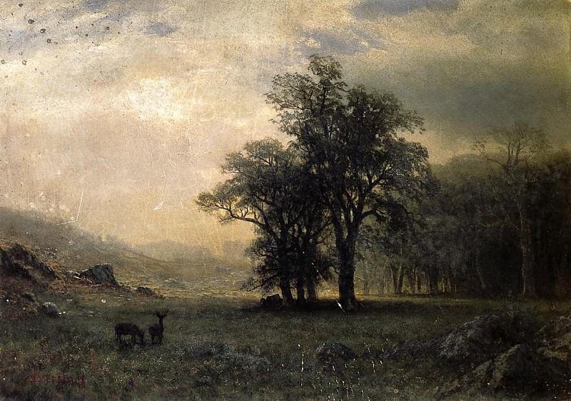 Пейзаж с оленями. Альберт Бирштадт