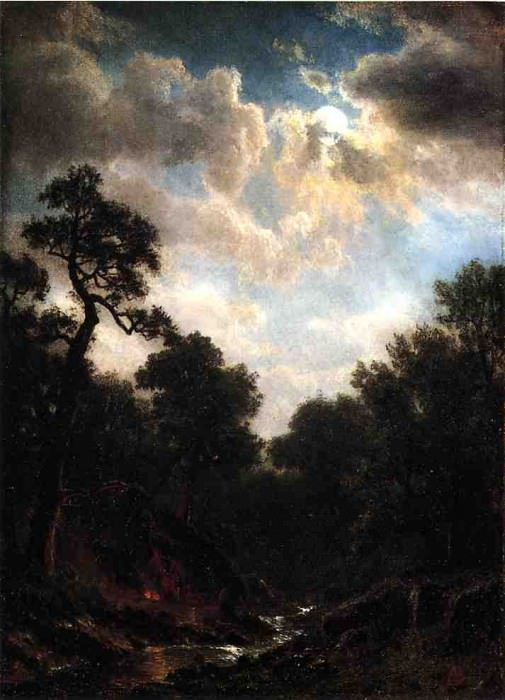 Moonlit Landscape. Albert Bierstadt