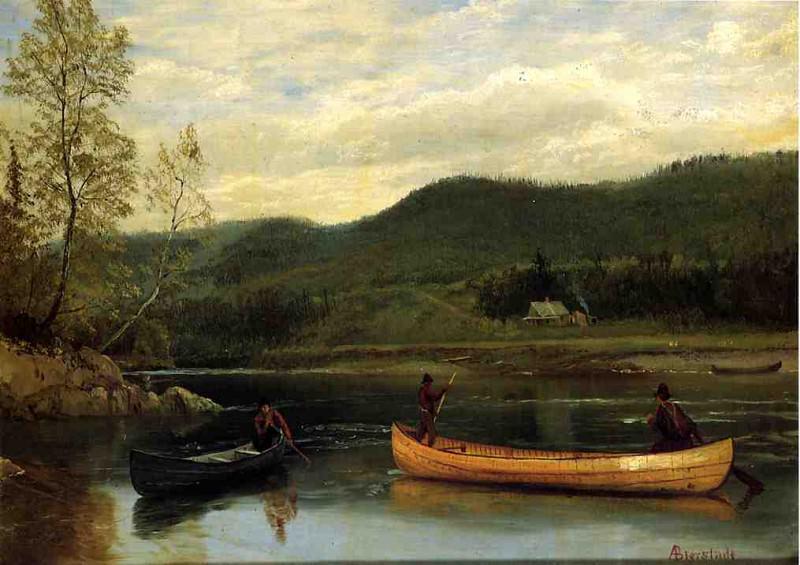 Men in Two Canoes. Albert Bierstadt