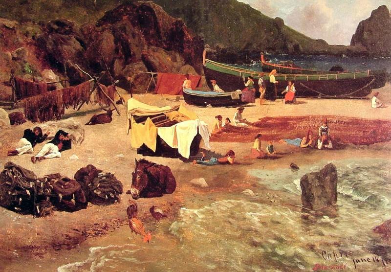 Рыбацкие лодки на острове Капри. Альберт Бирштадт