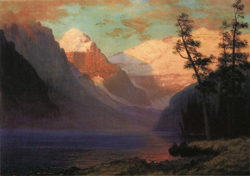 Вечернее зарево над озером Луиза. Альберт Бирштадт