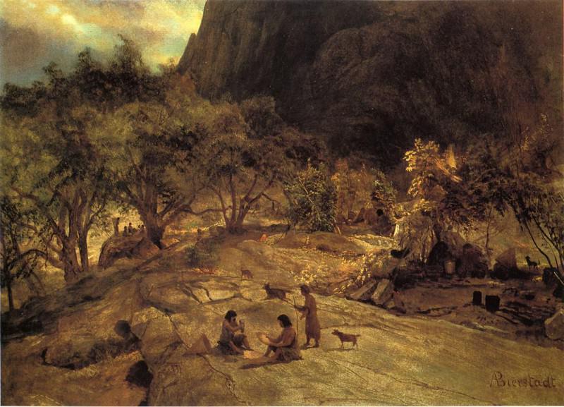 Mariposa Indian Encampment Yosemite Valley California. Albert Bierstadt