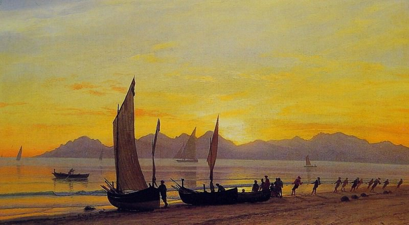 Boats Ashore At Sunset. Albert Bierstadt