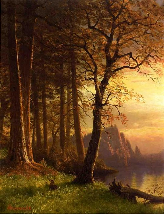 Sunset in California Yosemite. Albert Bierstadt