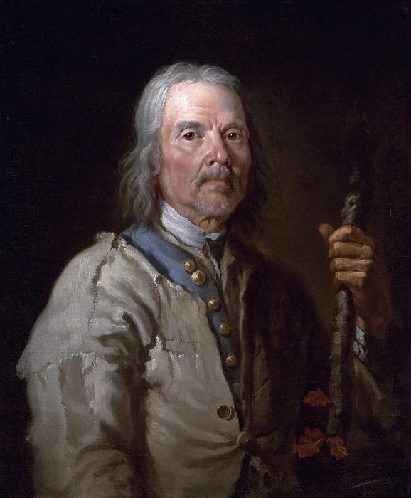 Man holding a staff. Thomas Jones Barker