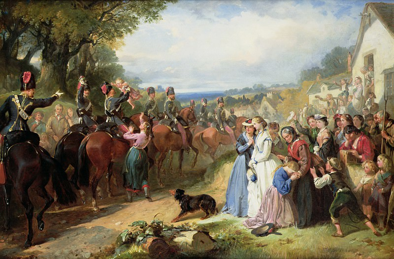 The Girls We Left Behind Us - The Departure of the 11th Hussars for India. Thomas Jones Barker