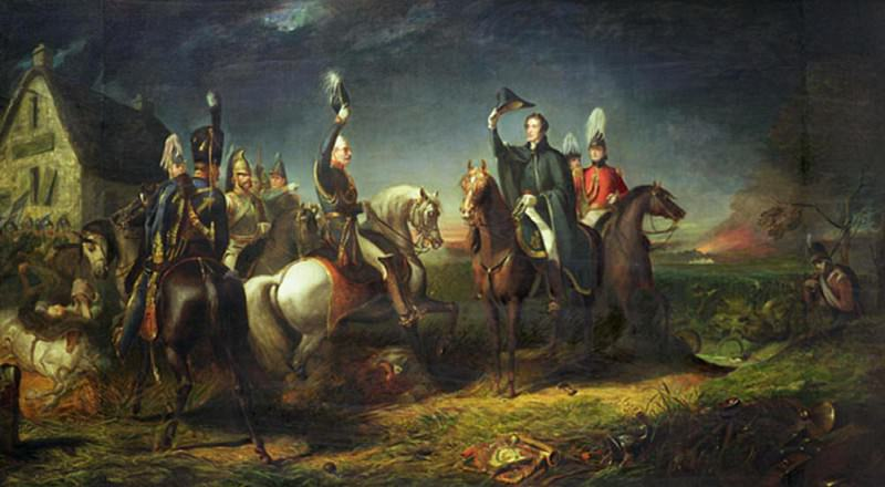 The Meeting of the Duke of Wellington and Field Marshal Blucher on the Evening of the Victory of Waterloo at La Belle Alliance. Thomas Jones Barker