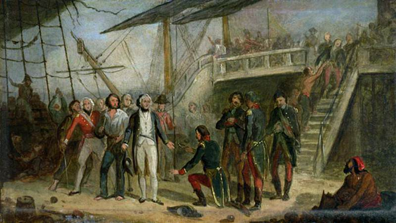 Nelson Boarding the San Josef on 14th February 1797 after Sir John Jervis victory off Cape St. Vincent. Thomas Jones Barker